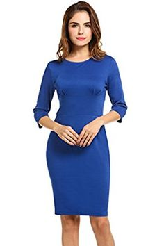 Meaneor Women 3/4 Sleeve Solid Business Party Bodycon Pencil Dress at Amazon Women's Clothing store:
