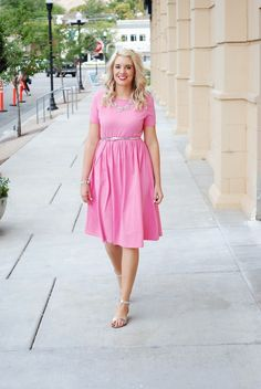 Pink ASOS dress and silver accessories!  Outfit from www.theredclosetd...