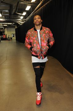 Oklahoma City Thunder point guard and NBA All-Star Russell Westbrook Does #florcore at the Playoffs. See more of his looks on Vogue.com.