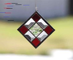 Your place to buy and sell all things handmade - WINTERBERRY-Abstract Stained Glass Suncatcher Sun Catcher