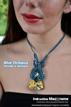 micro macrame tutorial pattern Blue Octopus by micromacrameonline