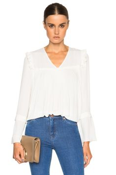 Image 1 of See By Chloe Pleated Ruffle Top in Off White