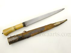Indian Kard dagger with wootz steel blade and ivory hilt dating to the 19th century