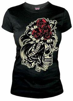 Lucky 13 Womens Black Short Sleeve Tee Shirt Skull Roses TShirt Top Punk Rock