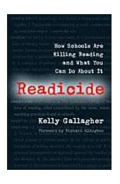 SSR (sustained silent reading) and Readicide:  Author stresses the importance of student choice in reading material.  He stresses that the reading program should be balanced. He adopts a 50/50 approach (50% of the students' reading is from recreational reading and 50% is from academic reading). Students read 1 book of their choice per month, fill out a 1-pager that takes about 20 mins. to complete. Lots of practical ideas that teachers can easily incorporate into their curriculum. Must read!