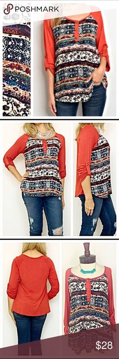Fall Tribal Tunic Top S M L Fall in love with this gorgeous rich rust tribal 3/4 tab sleeve tunic/top. Faux button front with multi colored tribal print in teal, black, white, tan, cream, brown & rust. Nice, easy to wear flowy fit. 95% rayon 5% spandex  Measurements: Small Bust 34-36 Length 25 Medium Bust 36-38 Length 26 Large Bust 38-40 Length 27 Tops Tunics