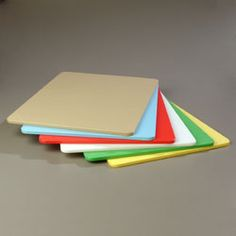 """Carlisle Sparta Spectrum Cutting Board - 10886-00  Sparta Spectrum Cutting Board, 18"""" x 24"""" x 1/2"""", high density polyethylene, assortment pack (includes (1) blue, (1) green, (1) red, (1) tan, (1) white, (1) yellow), color-coded cross-contamination chart included, NSF"""