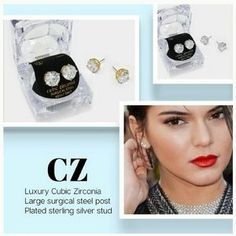 AUSTRALIAN CRYSTAL Cz ROUND-CUT STUDS. Check it out! Price: $26 Size: Various