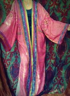Pink Lily Boho Kimono Coat Caftan Kaftan Gypsy India by HippieWild