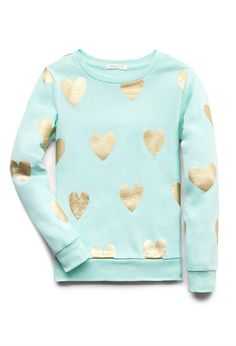 Fancy Hearts Sweatshirt (Kids)   FOREVER21 girls All you need is love #Juniors #Metallic #SweaterWeather