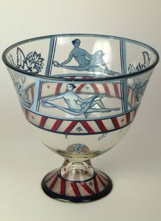 Glass bowl designed by Josef Hoffmann & decorated by Vally Wieselthier c.1920. Wiener Werkstatte.
