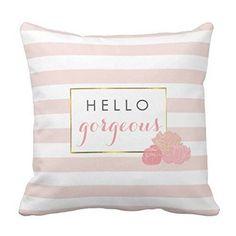 Proven Hello Gorgeous Pink Stripe Blush Peony Floral Deco...