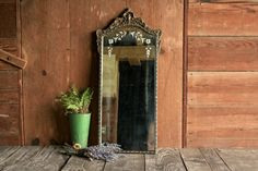 Vintage Wall Mirror Antique Wall Mirror with by OurVintageBungalow