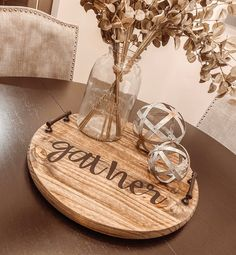 ✨ The start of the fall launch is finally here! This Lazy Susan is the perfect touch to your Thanksgiving table! Order one today on our Etsy! Rustic Wood Crafts, Primitive Wood Crafts, Wooden Diy, Diy Craft Projects, Decor Crafts, Project Ideas, Diy Crafts, Diy Lazy Susan, Modern Farmhouse Table