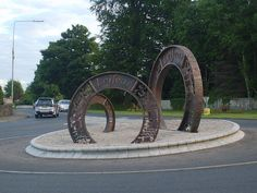 Roundabout in Lifford, County Donegal ....Roundabouts: remember to turn LEFT when you enter!Passed through this town many times on our way to our summer holiday farm house for many years