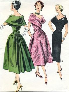 1950s RARE Dramatic Evening Dress Pattern ADVANCE 8507 STUNNING Designer Helena Barbieri Draped Fichu Dress Full or Slim skirt Cocktail Party Dress Bust 36Vintage Sewing Pattern