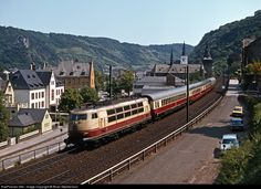 103 Deutsche Bundesbahn BR 103 at St.Goar, Germany by Brian Stephenson Electric Locomotive, Steam Locomotive, Station To Station, 14th Century, Interior And Exterior, Transportation, Castle, Germany, Adventure