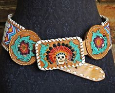 beaded tooled leather belt WOW
