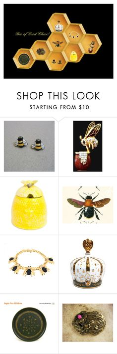 """""""Bee of Good Cheer!"""" by anna-ragland ❤ liked on Polyvore featuring Jennifer Moore, vintage, handmadejewelry, vintagehomedecor, vintagefinds, vintagecollectibles and etsyevolution"""