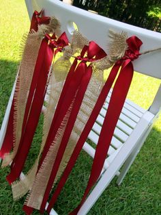 Ribbon Chair Garland Wedding Decor Rustic Burlap Apple Red Ribbon--- for the wedding party chairs?
