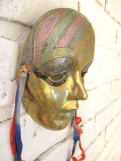 Vintage Indian Brass Mask Mardi Gras Wall Hanging by retrosideshow