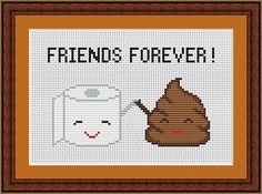 Poop Emoji Funny Cross Stitch PDF Pattern - Poo and Toilet Paper Friends Forever