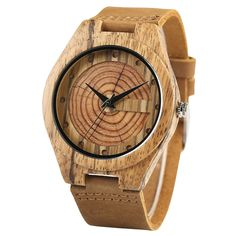 Wood Watches For Men Appearance Amphitheater Round Japanese Quartz Movement Casualenuine Leather Wrist Watch Male Reloj De Madera Wood Wrist Watches Cool Watches, Watches For Men, Wrist Watches, Brown Rings, Retro Table, Wooden Watch, Watch Sale, Quartz Watch, Watch Bands