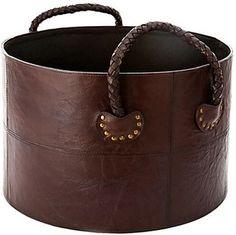 Braided Leather Log Basket