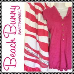 RaRE Beach Bunny Striped Towel AND Romper SET sz L First time for sale in forever!! Pink zebra stripe towel with pink satin ruffle trim. This towel is huge! It's only been used a handful of times, so it's definitely not new but it's in excellent condition! A must for any serious beach bunny fan!  Sold with 'Burning Up' romper in matching pink. Please specify MED or LARGE in buyer's note section. Both rompers are NWOT.  Will not sell individually. Beach Bunny Swim Coverups