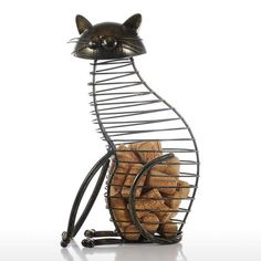 Metal Cat Figurines Wine Cork Container