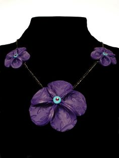 Purple polymer clay flower necklace by MJsArtistry on Etsy, $15.00