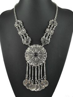 Silver Coin Drop Chian Necklace