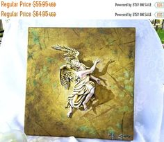 Original Oil Painting Vintage Canvas Painting Signed Artwork of angel and shadow by StudioVintage on Etsy