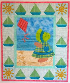 "Sunbonnet Sue at the Beach, 22"" x 26"", designed and made by Darra Williamson, machine quilted by Chris Porter, from their book, A Year in the Life of Sunbonnet Sue"