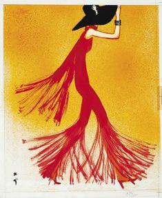 Дама в красном. ок.1970. 40 х 33.4 см. Бумага, тушь, гуашь. Rene Gruau (1909-2004)