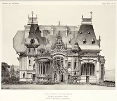 Elevation for a suburban residence, France, 1895