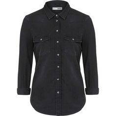 TopShop Moto Fitted Western Shirt ($38) ❤ liked on Polyvore featuring tops, shirts, blouses, topshop, black, topshop tops, western tops, fitted shirts, western style shirts and form fitting shirts