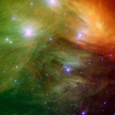 The Pleiades star cluster -  infrared image from NASA's Spitzer Space Telescope