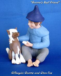 """""""Gnome's Best Friend"""" - Gilleagán Gnome and Chou-Tze Sold 12/2/12 at Christmas City Village, Bethlehem, PA"""