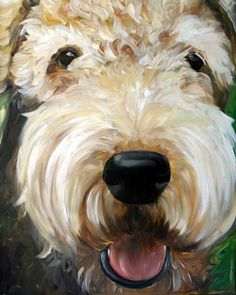 airedale terrier dog puppy art oil paintings by mary sparrow smith from hanging the moon