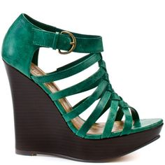 Heels I Love #heels #summer #high_heels #color #love Michael Antonio  				  				Gillespie Wedge - Green Pu
