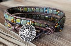 Beaded Leather Wrap Bracelet with CheckMates Tile