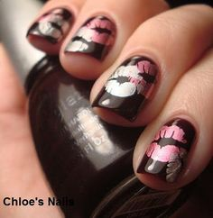 Black with lips stamp art nails