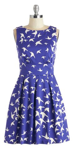 Cobalt Bird Print Dress