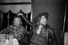 THIS GUY IS THE GUY THAT DID IT.  Waylon Jennings points to his pal Wille Nelson - Rainbow Room - New York City - Circa 1978.
