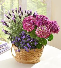 This unique & lovely dish garden of lavender, hydrangea and ivy plants, set in a stunning natural bark planter, makes a wonderful gift for #MothersDay