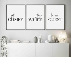 guest room decor Get Comfy Stay A While Be Our Guest Printable Wall Art Guest Room Sign, Be Our Guest Sign, Guest Bedroom Decor, Guest Room Office, Bedroom Signs, Guest Bedrooms, Spare Room Decor, Spare Bedroom Ideas, Cottage Bedrooms