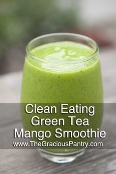 Clean Eating Green Tea Mango Smoothie Ingredients 1 mango, peeled and cored 2 cups raw spinach 1 cup brewed and cooled green tea 1 medium banana 1 cup fresh pineapple Directions Step 1 – Blend in a blender and serve.