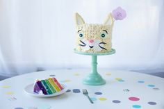 rainbow cat cake with slice