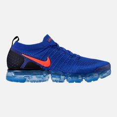 Right view of Men's Nike Air VaporMax Flyknit 2 Running Shoes in Racer Blue/Total Crimson/Black Nike Air Vapormax, Mens Nike Air, Nike Basketball Shoes, Nike Shoes, Sneakers Nike, Men's Outfits, Casual Outfits, Athleisure, Nike Free